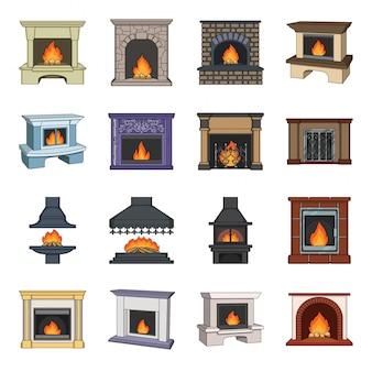 Conjunto de dibujos animados de chimenea icono. conjunto de dibujos animados aislados interior. hogar .