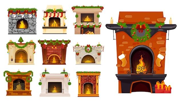 Conjunto de dibujos animados de chimenea de navidad de chimeneas navideñas con coronas de árboles de navidad, calcetines y regalos de santa, guirnaldas de bayas de acebo, bolas y velas. interior de la habitación de vacaciones de invierno