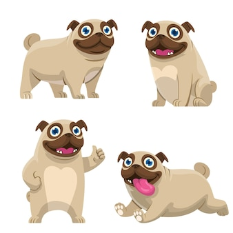 Conjunto de dibujos animados de colección de perros pug