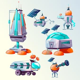Conjunto de dibujos animados de colonización del planeta