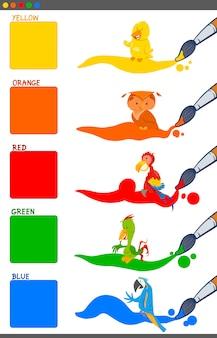 Conjunto de dibujos animados de colores básicos con pájaros.