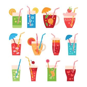 Conjunto de dibujos animados de coloridas bebidas de fiesta de verano