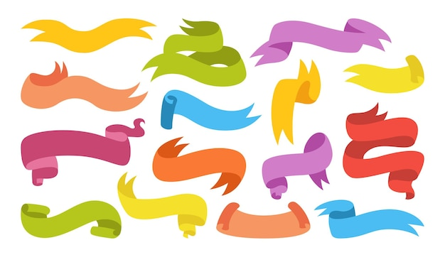 Conjunto de dibujos animados coloridos de cinta cinta en blanco colección plana iconos decorativos cintas simples de diseño vintage kit de icono web de banner de texto etiqueta de etiqueta e insignias de calidad