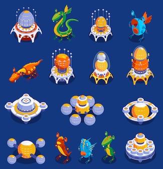 Conjunto de dibujos animados coloridos de monstruos lindos y criaturas alienígenas y aviones interplanetarios para juegos infantiles ilustración aislada