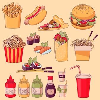 Conjunto de dibujos animados de comida rápida.
