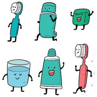 Conjunto de dibujos animados de conjunto de cuidado dental