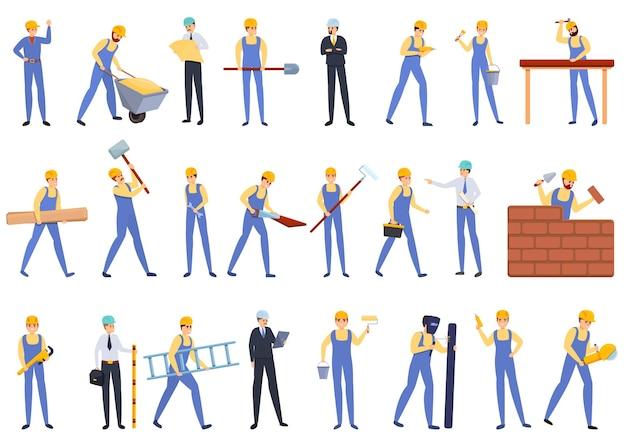Conjunto de dibujos animados de constructores