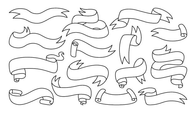 Conjunto de dibujos animados de contorno de doodle de banner de cinta iconos decorativos de colección lineal en blanco de cinta cinta simple de diseño vintage kit de banner de icono web etiqueta de etiqueta e insignias de calidad