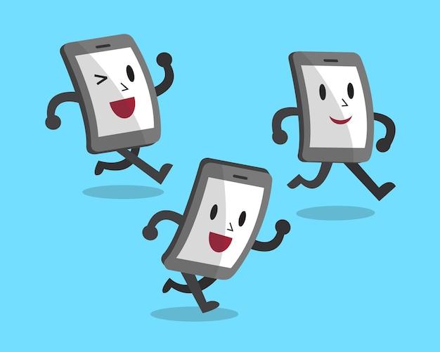 Conjunto de dibujos animados corriendo smartphones