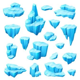 Conjunto de dibujos animados de cristales de hielo, glaciares e iceberg de diseño de invierno