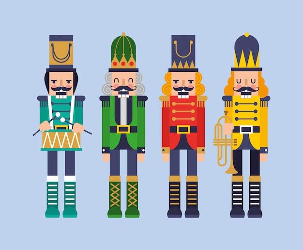 Conjunto de dibujos animados cuatro cascanueces