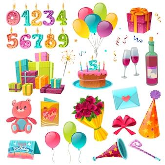 Conjunto de dibujos animados de cumpleaños de celebración