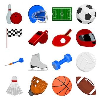 Conjunto de dibujos animados deporte icono