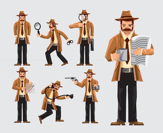 Conjunto de dibujos animados detective en acción