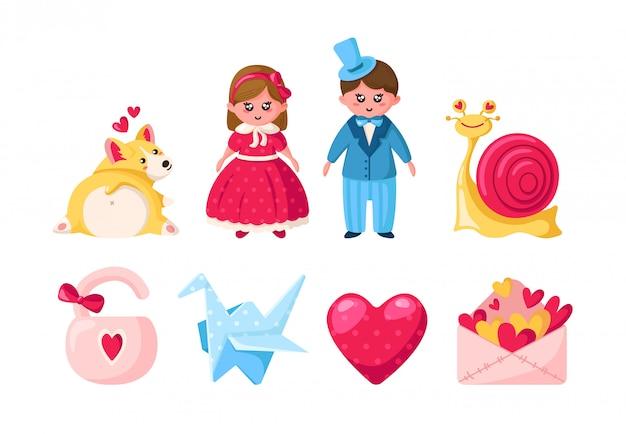 Conjunto de dibujos animados del día de san valentín - kawaii niña y niño, cachorro corgi, caracol rosa, sobre, grulla de papel