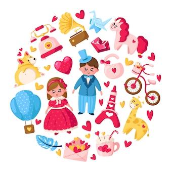 Conjunto de dibujos animados del día de san valentín - kawaii niña y niño, unicornio, cachorro corgi, sobre, corazón de cristal