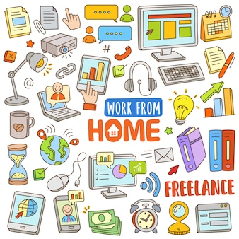 Conjunto de dibujos animados dibujados a mano en color doodle - trabajar desde casa