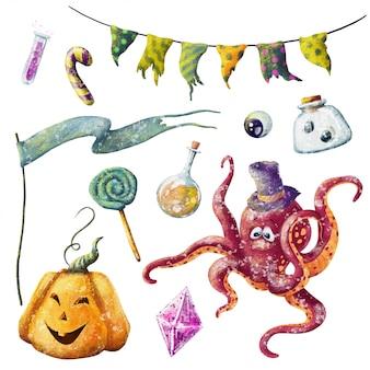 Conjunto de dibujos animados dibujados a mano de lindo halloween
