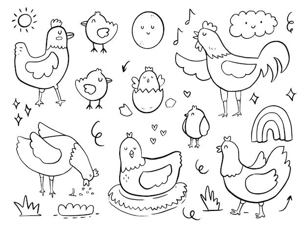 Conjunto de dibujos animados de dibujo de doodle de gallina de pollo para niños para colorear e imprimir