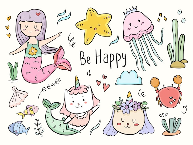 Conjunto de dibujos animados de dibujo de ilustración de doodle de sirena de gato lindo para niños para colorear e imprimir
