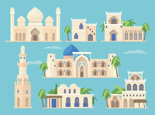 Conjunto de dibujos animados de diferentes edificios árabes en estilo tradicional. ilustración plana.