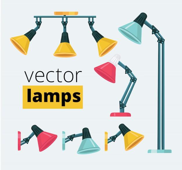 Conjunto de dibujos animados de diferentes tipos y colores de lámparas flexibles. ilustraciones de luminarias de techo, lámparas de pie y de mesa.