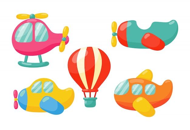 Conjunto de dibujos animados de diferentes tipos de transporte aéreo. aviones aislados