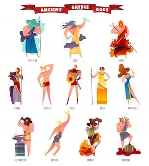 Conjunto de dibujos animados de dioses de la antigua grecia