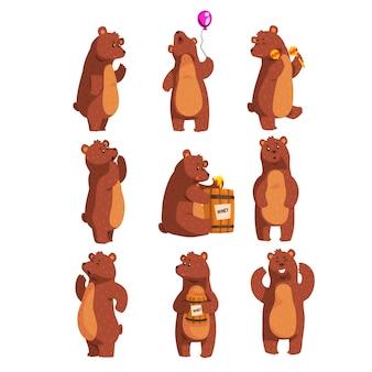 Conjunto de dibujos animados con divertido oso pardo