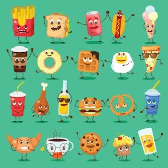 Conjunto de dibujos animados divertidos amigos - comida rápida y frutas