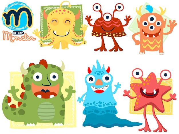 Conjunto de dibujos animados divertidos monstruo