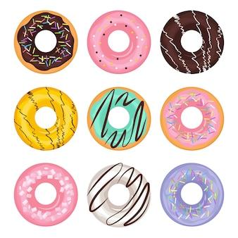 Conjunto de dibujos animados donut de diferentes colores en estilo plano. postre americano tradicional. ilustración, aislado sobre fondo blanco