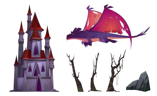 Conjunto de dibujos animados de dragón, castillo, árboles y rocas aislado en blanco