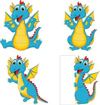 Conjunto de dibujos animados de dragones con signo en blanco