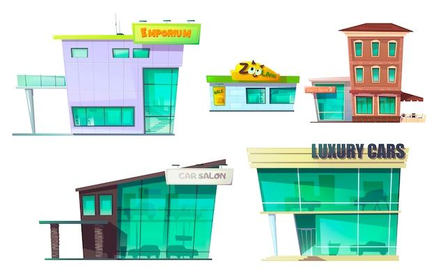 Conjunto de dibujos animados de edificio moderno retro urbano