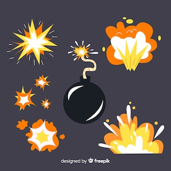 Conjunto de dibujos animados de efectos de explosión de bomba