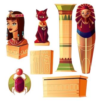 Conjunto de dibujos animados egipcios - busto de la reina, sarcófago faraón, pilar antiguo
