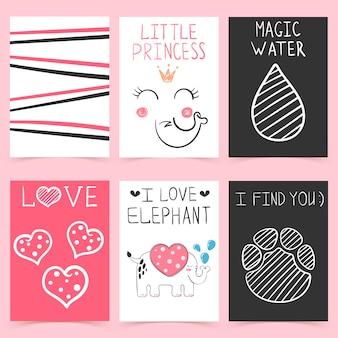 Conjunto de dibujos animados elefante