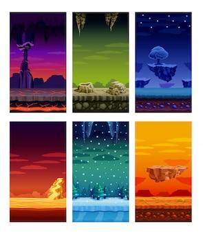 Conjunto de dibujos animados de elementos coloridos de juegos de computadora