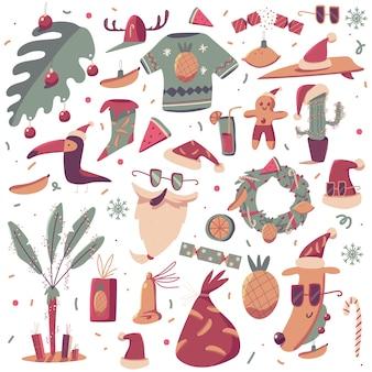 Conjunto de dibujos animados de elementos de navidad tropical aislado sobre fondo blanco.