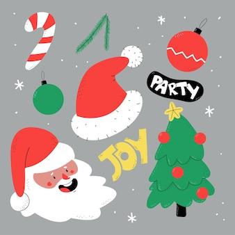 Conjunto de dibujos animados de elementos navideños dibujados a mano aislado en el fondo