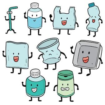 Conjunto de dibujos animados de elementos de reciclaje
