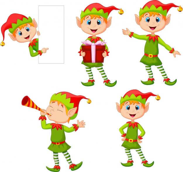 Conjunto de dibujos animados de elfos niño aislado