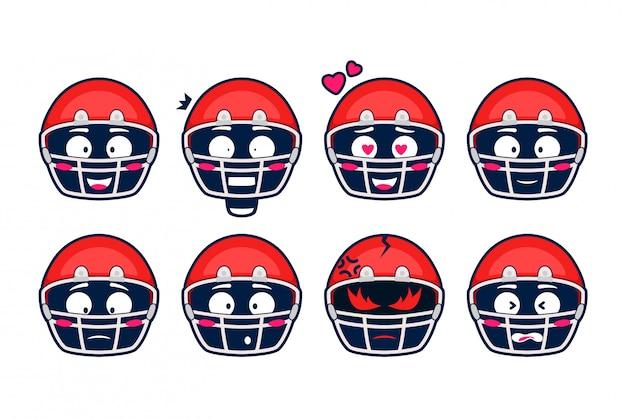 Conjunto de dibujos animados de emoción de emoji de casco de rugby de fútbol americano