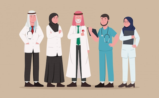 Conjunto de dibujos animados del equipo médico árabe