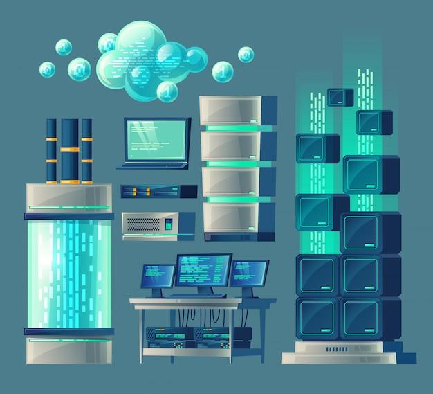 Conjunto de dibujos animados de equipos y dispositivos para el procesamiento y almacenamiento de datos, base de datos