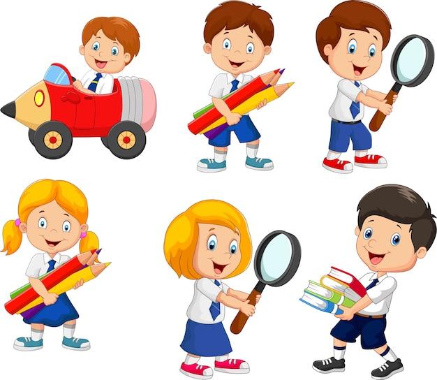 Conjunto de dibujos animados escuela niños dibujos animados colección
