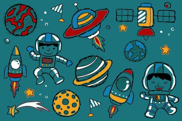 Conjunto de dibujos animados de espacio de dibujo a mano