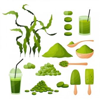Conjunto de dibujos animados de espirulina con algas marinas en polvo tabletas cápsulas batido helado de algas aisladas sobre fondo blanco