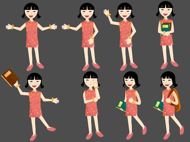 Conjunto de dibujos animados de estilo plano de joven estudiante asiática con libros y bolsas